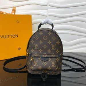 NWT LV Palm Springs PM Mini Backpack Brown Canvas